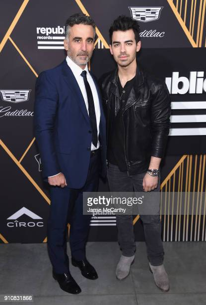 Republic Records cofounder Avery Lipman and Musician Joe Jonas attend Republic Records Celebrates the GRAMMY Awards in Partnership with Cadillac...