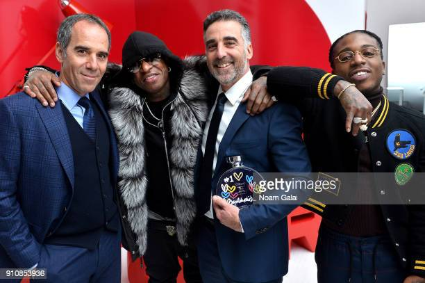 Republic Records cofounders Avery Lipman and Monte Lipman CoFounder of Cash Money Records and rapper Birdman and rapper Jacquees attend Republic...