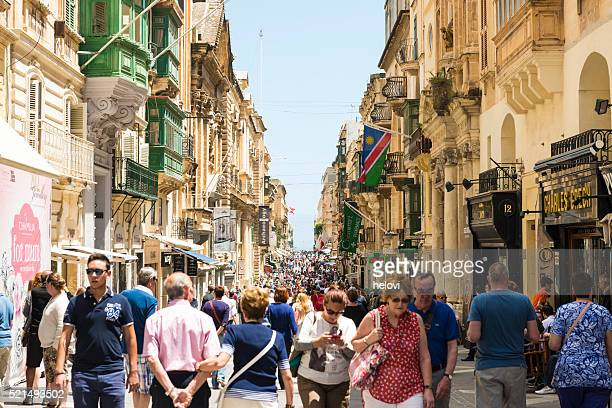 republic street in valetta - valletta stock pictures, royalty-free photos & images