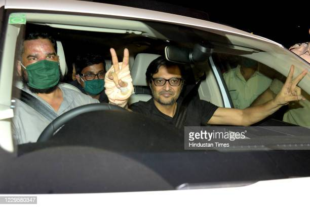 Republic TV EditorinChief Arnab Goswami gestures to his supporters after being released from Taloja Central Prison in 2018 Suicide abetment case at...