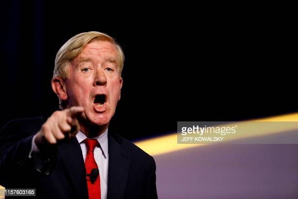 Republican 2020 presidential candidate Bill Weld addresses the Presidential Forum at the NAACP's 110th National Convention at Cobo Center on July 24...
