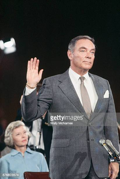 Republican Al Haig is sworn in to testify before the Senate Foreign Relations Committee on his nomination by President Ronald Reagan to be Secretary...