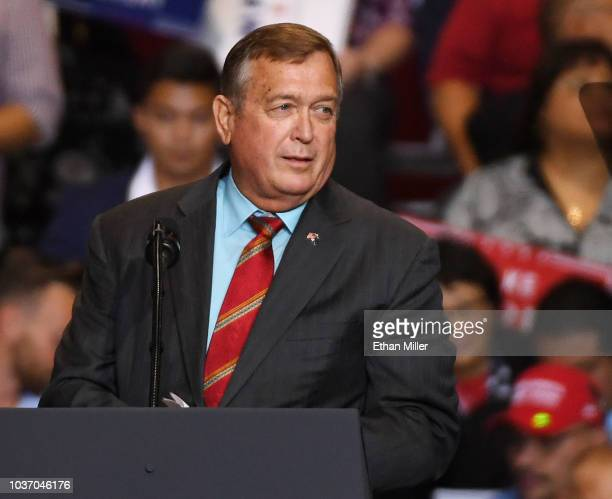 Candidate for Nevada's 4th House District Cresent Hardy speaks during a Donald Trump campaign rally at the Las Vegas Convention Center on September...