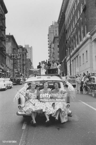 Republican Bandwagon campaigns for Republican candidate and incumbent President Dwight D. Eisenhower, commonly known as 'Ike', during the Republican...