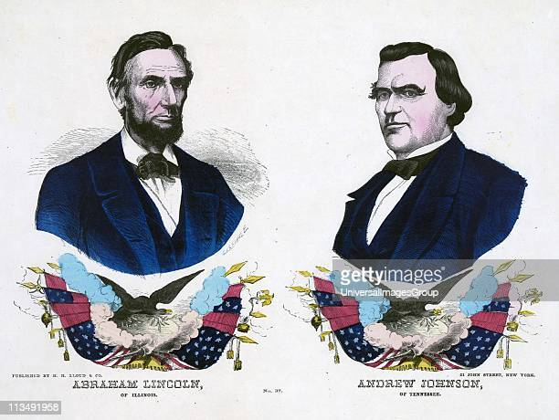 Republican campaign banner for the 1864 US Presidential election Abraham Lincoln the Presidential candidate left and his Vice President Andrew...