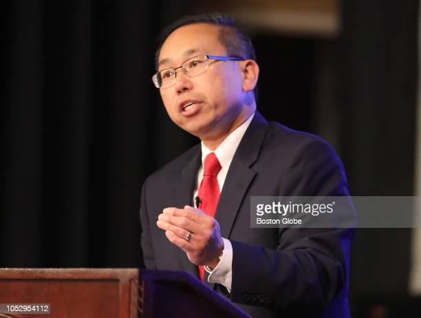 Republican candidate and Cranston Mayor Allan Fung participates in a debate between Rhode Island gubernatorial candidates at the University of Rhode...