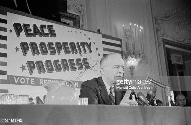 Republican candidate and incumbent President Dwight D. Eisenhower, commonly known as 'Ike', with the slogan 'Peace Prosperity Progress' during the...