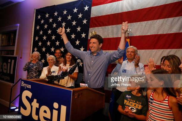 A sign for Republican candidate Bryan Steil US Congress stands in a hallway at his victory party in the Primary election on August 14 2018 in...