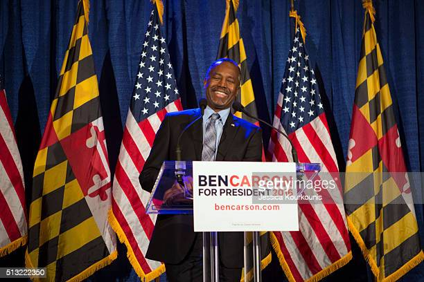 Republican candidate Dr. Ben Carson speaks to supporters at his campaign at his Super Tuesday election party at the Grand Hotel on March 1, 2016 in...