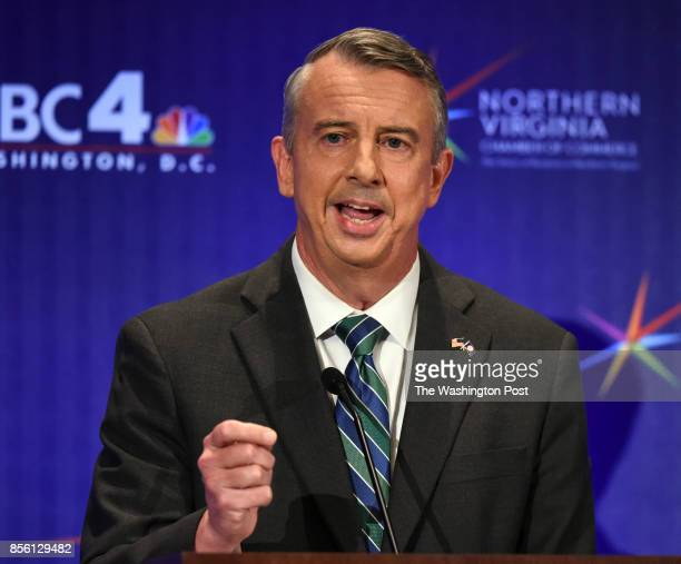 Republican candidate Ed Gillespie makes his opening statement during his debate with Lt Gov Ralph Northam Democrat on September 2017 in McLean VA