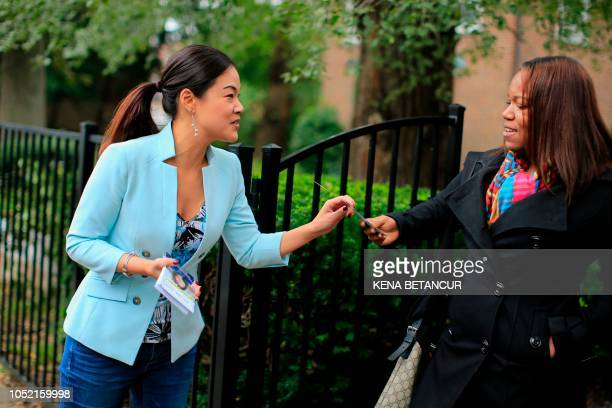 Republican candidate for Congress Pearl Kim speaks with members of the Church of God in Christ as she campaigns in Upper Darby Pennsylvania on...