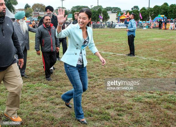 Republican candidate for Congress Pearl Kim waves as she campaigns during the 9th Kabaddi Cup on October 14 2018 in Upper Darby Pennsylvania Kim is...