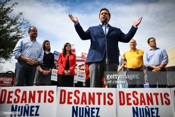 Republican candidate for Governor of Florida Ron DeSantis attends a rally at Freedom Pharmacy on the final day of campaigning in the midterm...