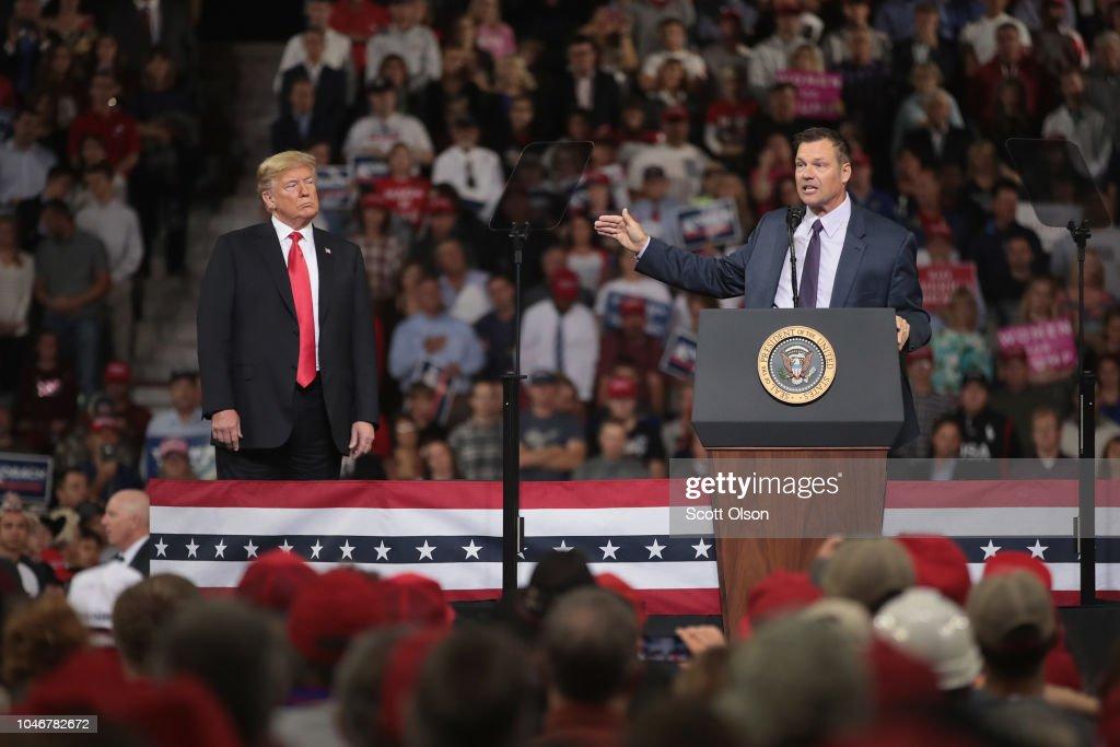 President Trump Holds Rally In Topeka, Kansas : News Photo
