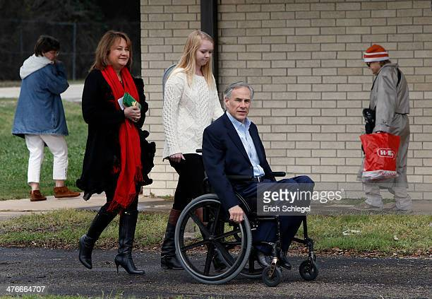 Republican candidate for governor Texas Attorney General Greg Abbott is accompanied by his wife Cecilia left and daughter Audrey as he arrives to...