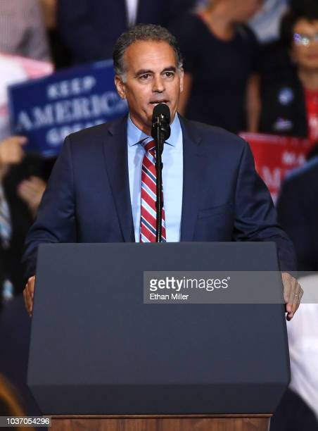 Candidate for Nevada's 3rd House District Danny Tarkanian speaks during a Donald Trump campaign rally at the Las Vegas Convention Center on September...