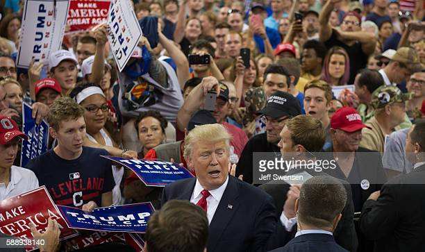 Republican candidate for President Donald Trump speaks to supporters at a rally at Erie Insurance Arena on August 12, 2016 in Erie, Pennsylvania, an...