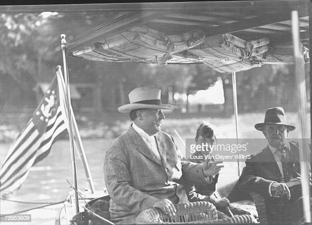 Republican candidate for President William Howard Taft and son Charles enjoy a day of fishing at Middle Bass Island Taft would easily defeat Democrat...