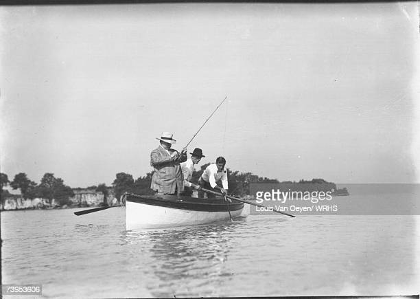 Republican candidate for President William Howard Taft goes fishing while on vacation at Middle Bass Island Taft would easily defeat Democrat William...
