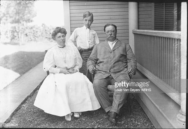 Republican candidate for President William Howard Taft poses with wife Helen and son Charles while vacationing at Middle Bass Island Taft easily...