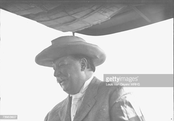 Republican candidate for President William Howard Taft relaxes aboard his fishing boat at Middle Bass Island Taft would easily defeat Democrat...
