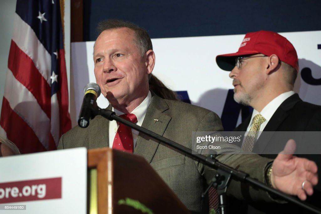 Republican candidate for the U.S. Senate in Alabama, Roy Moore greets supporters at an election-night rally on September 26, 2017 in Montgomery, Alabama. Moore, former chief justice of the Alabama supreme court, defeated incumbent Luther Strange in a primary runoff election for the seat vacated when Jeff Sessions was appointed U.S. Attorney General by President Donald Trump. Moore will now face Democratic candidate Doug Jones in the general election in December.