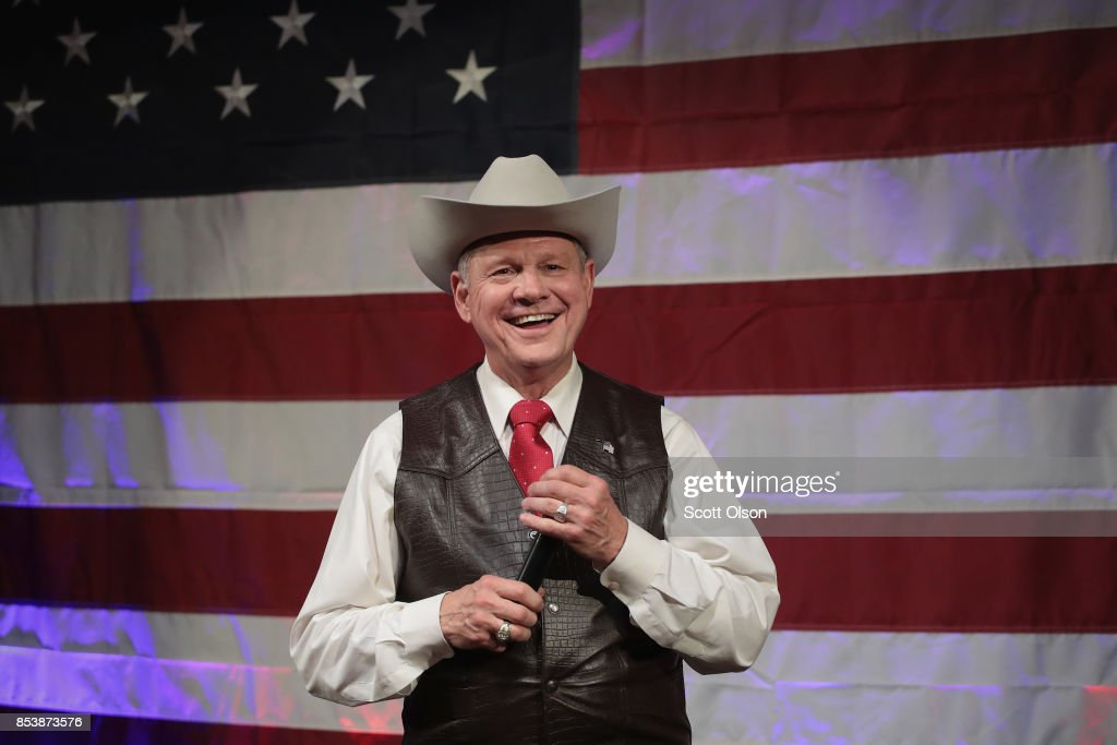 Republican candidate for the U.S. Senate in Alabama, Roy Moore, speaks at a campaign rally on September 25, 2017 in Fairhope, Alabama. Moore is running in a primary runoff election against incumbent Luther Strange for the seat vacated when Jeff Sessions was appointed U.S. Attorney General by President Donald Trump. The runoff election is scheduled for September 26.