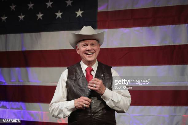 Republican candidate for the US Senate in Alabama Roy Moore speaks at a campaign rally on September 25 2017 in Fairhope Alabama Moore is running in a...