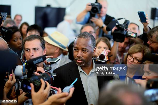 Republican candidate for US President Ben Carson speaks to reporters before the start of the Republican Presidential Debates at the Reagan Library...