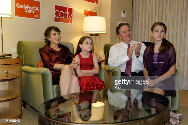 Republican candidate for US Senate and former head of HewlettPackard Carly Fiorina watches the election results with granddaughter Kara Tribby...