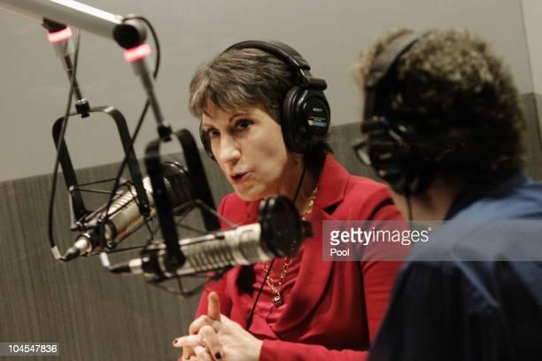 Republican candidate for U.S. Senate Carly Fiorina participates in a radio debate with incumbent U.S. Sen. Barbara Boxer who is in Washington, DC, as...
