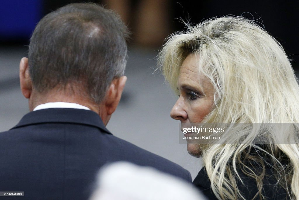 Republican candidate for U.S. Senate Judge Roy Moore and his wife Kayla Moore speak during a campaign event at the Walker Springs Road Baptist Church on November 14, 2017 in Jackson, Alabama. The embattled candidate has been accused of sexual misconduct with underage girls when he was in his 30's.