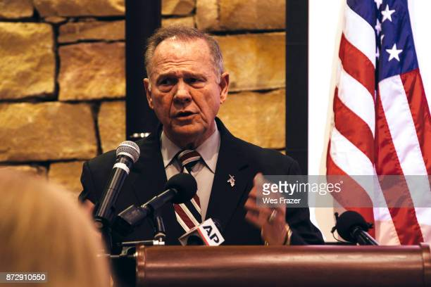 Republican candidate for US Senate Judge Roy Moore speaks during a midAlabama Republican Club's Veterans Day event on November 11 2017 in Vestavia...