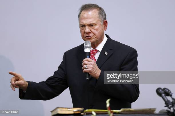 Republican candidate for US Senate Judge Roy Moore speaks during a campaign event at the Walker Springs Road Baptist Church on November 14 2017 in...