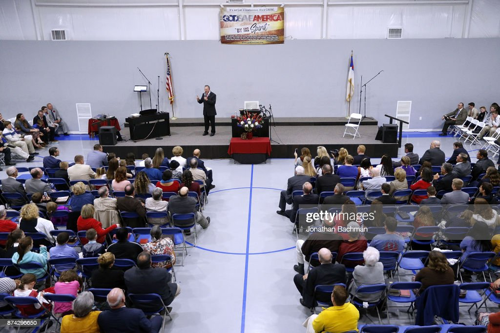 Republican candidate for U.S. Senate Judge Roy Moore speaks during a campaign event at the Walker Springs Road Baptist Church on November 14, 2017 in Jackson, Alabama. The embattled candidate has been accused of sexual misconduct with underage girls when he was in his 30s.