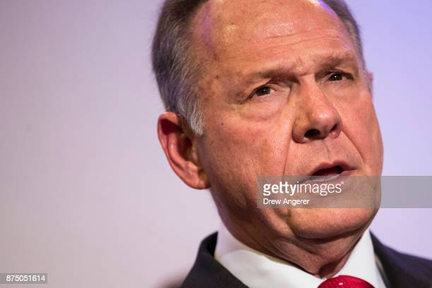 Republican candidate for US Senate Judge Roy Moore speaks during a news conference with supporters and faith leaders November 16 2017 in Birmingham...