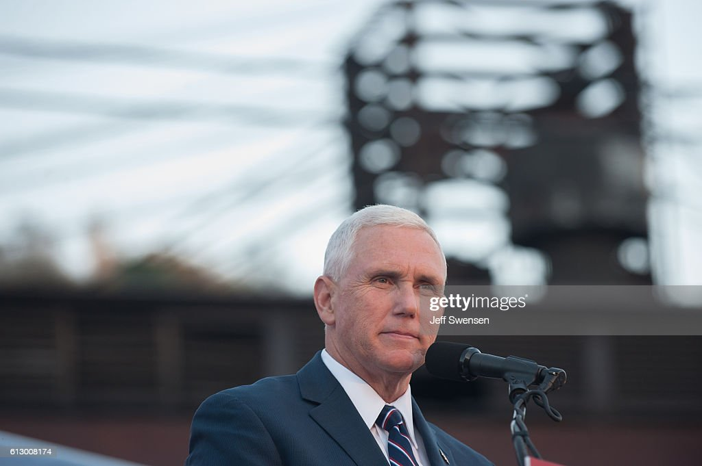 Republican candidate for Vice President Mike Pence speaks to close to 250 supporters at a rally at JWF Industries in Johnstown, Pennsylvania on October 6, 2016. Johnstown, Pennsylvania, with a population of 25,000 has been a traditionally democratic stronghold shifting to republican with a shrinking tax base and lost jobs, beginning in the 1970s, when 13,000 people lost their jobs at Bethlehem Steel, which now the location of JWF Industries.