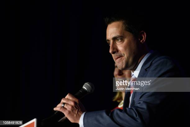 Republican candidate Frank LaRose gives his victory speech after winning Ohio Secretary of State on November 6 2018 at the Ohio Republican Party's...