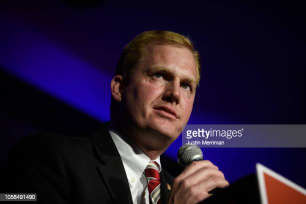 Republican candidate Jon Husted gives his victory speech after winning the Ohio lieutenant governor's race at the Ohio Republican Party's election...