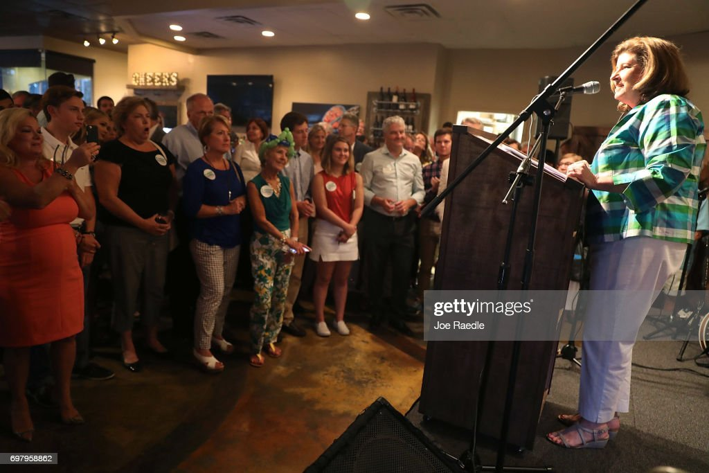 Republican candidate Karen Handel speaks during a campaign stop at Houck's Grille as she runs for Georgia's 6th Congressional District on June 19, 2017 in Roswell, Georgia. Handel is running in a special election against the Democratic challenger Jon Ossoff to replace Tom Price, who is now the Secretary of Health and Human Services. The election will fill a congressional seat that has been held by a Republican since the 1970s.