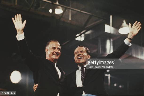 US Republican candidate Richard Nixon with his running mate Spiro Agnew during the presidential election campaign USA October 1968