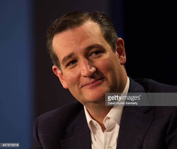 Republican candidate Senator Ted Cruz of Texas is interviewed by Politico's Mike Allen at an event sponsored by the Freedom Partners Chamber of...