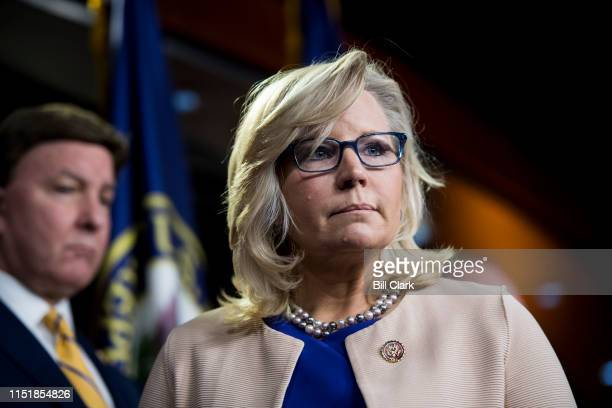 Republican Conference Chair Liz Cheney RWyo participates in the House Republican leadership press conference following the House GOP caucus meeting...