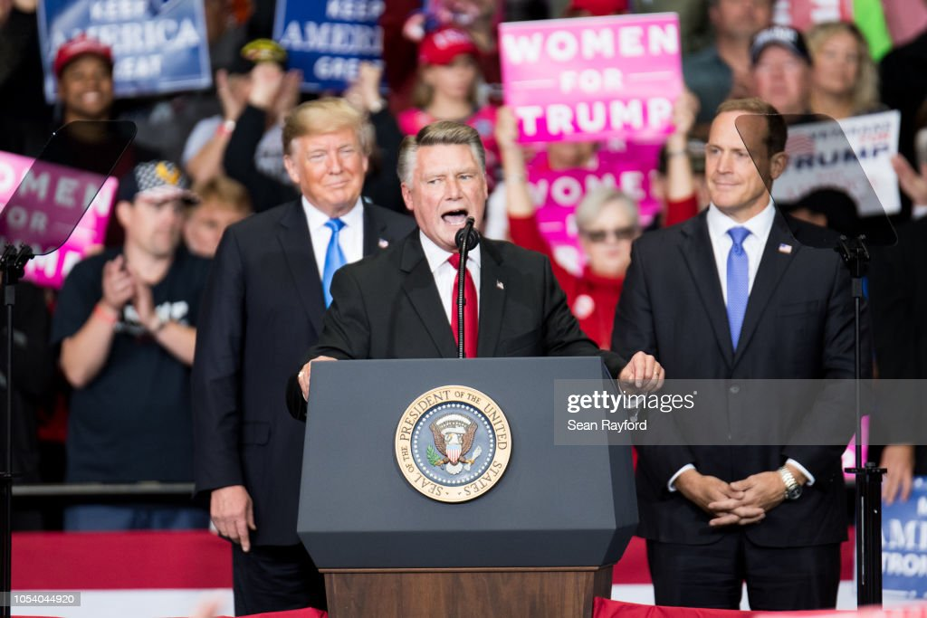 President Trump Holds Campaign Rally At The Bojangles Coliseum In Charlotte, North Carolina : News Photo