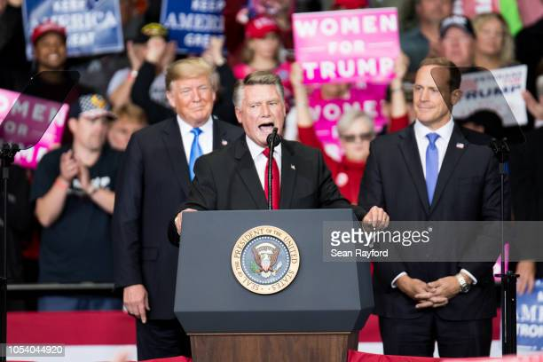 Republican Congressional candidate for North Carolina's 9th district Mark Harris addresses the crowd as President Donald Trump and Republican...