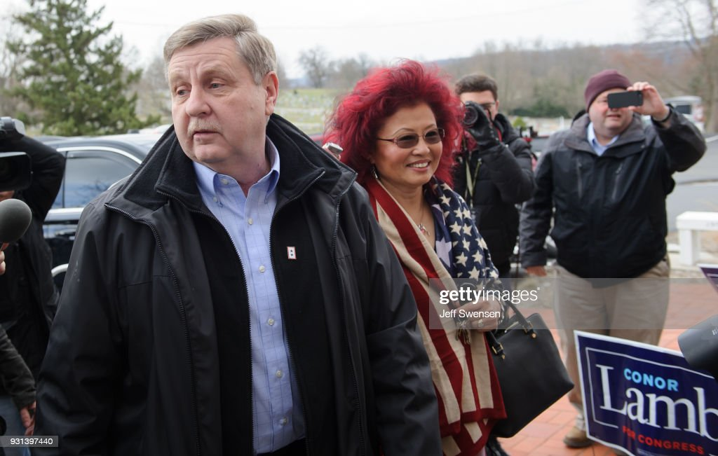 Republican Congressional Candidate Rick Saccone arrives to vote in the special election to fill the 18th Congressional District seat vacated by Representative Tim Murphy at the Mount Vernon Presbyterian Church on March 13, 2018 in McKeesport, Pennsylvania.