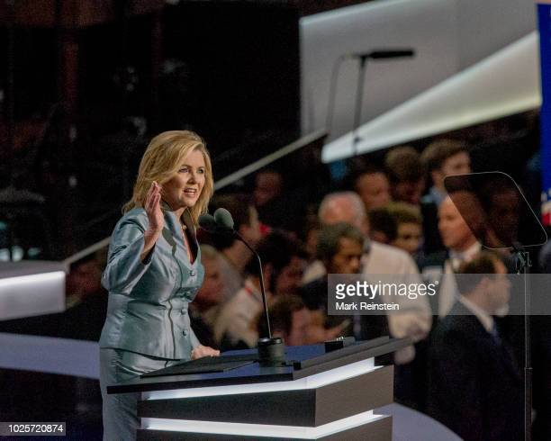 Republican Congresswoman Marsha Blackburn who represents the 7th District in Tennessee addresses the Republican National Convention in the Quicken...