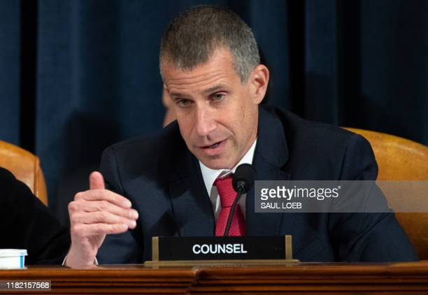 Republican Counsel Stephen Castor asks questions of witnesses US Ambassador to Ukraine William Taylor and Deputy Assistant Secretary George Kent...