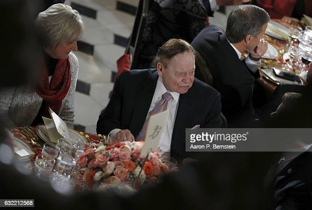 Republican donor Sheldon Adelson attends the Inaugural Luncheon in the US Capitol January 20 2017 in Washington DC President Donald Trump is...