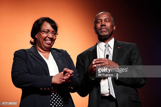 Republican Dr Ben Carson a retired pediatric neurosurgeon stands with his wife Candy as he officially announces his candidacy for President of the...